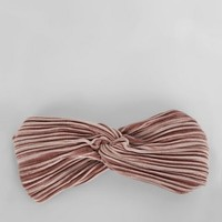 Pink Pleated Velvet Twist Front Headband | New Look