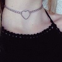 Metal Heart Choker Necklace