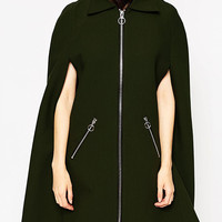Army Green Laple Woolen Cape Coat
