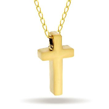 Tiny Cross Necklace, 14K Gold Plated Small Christian Cross Necklace, Dainty Cross Charm