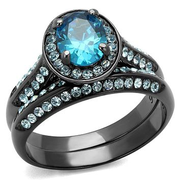 Vintage Engagement Rings TK1W163LJ Light Black Stainless Steel Ring with CZ