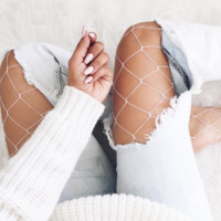 White Fishnet Stocking Casual summer 2017 Plaid Women Pantyhose Slim Party Club Colorful Tights