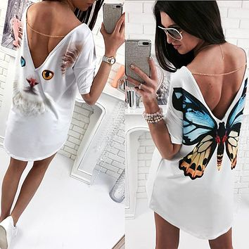 2018 Casual Cat Butterfly Printed O Neck V backless Short Sleeve Loose White Mini Dress Womens Fashion Dresses Summer Women 2018