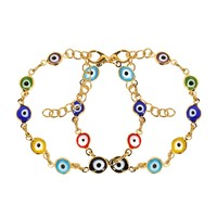 Evil Eye Protection Love Couples Amulets Set Colorful Fun Gold-Tone Elegant Charms Bracelets