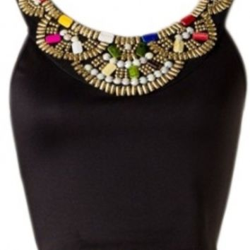 Beaded Black Cropped Top