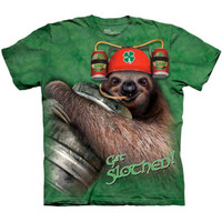 GET SLOTHED The Mountain Funny St Patricks Day Sloth Drinking Beer T-Shirt S-3XL