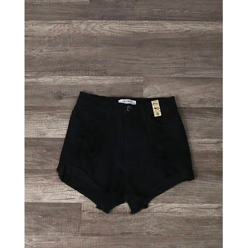 Black High Rise Distressed Denim Shorts