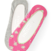 2-Pack Palm Tree & Solid No-Show Socks