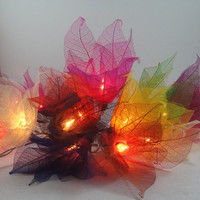20 Multi Color Bodhi Leave Flower Fairy Lights by marwincraft