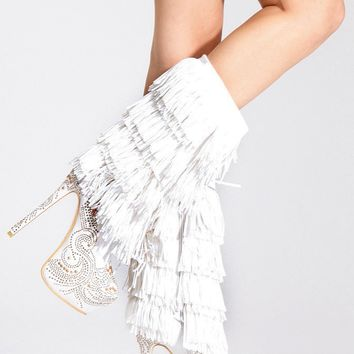 Alba White Fringe Rhinestone Stiletto Mid Calf Boot @ Cicihot Boots Catalog:women's winter boots,leather thigh high boots,black platform knee high boots,over the knee boots,Go Go boots,cowgirl boots,gladiator boots,womens dress boots,skirt boots.