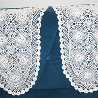 Vintage Needle Lace decoration, Set of 2, Traycloth, Table Cloth, Crochet Dresser Scarf, Vintage Inspired Decor, Wedding Table Decor, Doily