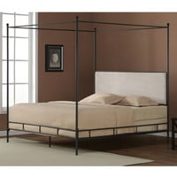 King Size Metal Canopy Bed Cream Color Upholstered Headboard