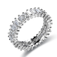 10KT White Gold Filled Princess cut Full AAA CZ Women's Wedding Band Bride Jewelry Engagement Ring sz 6-9
