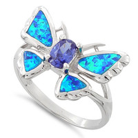 Sterling Silver Created Blue Opal Butterfly Ring