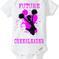 """New Baby Gift: """"Future Cheerleader"""" Infant Shirt! Sports / Sporty Baby Girl! Embellished Gerber Onesuit brand body suit - Hot Pink"""