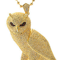 King Ice Gold CZ Owl Necklace