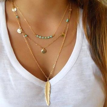 Boho Multilayer Feather Necklace