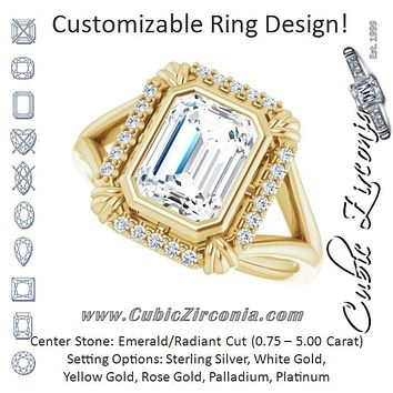 "Cubic Zirconia Engagement Ring- The Leontine (Customizable Emerald Cut Design with Split Band and ""Lion's Mane"" Halo)"