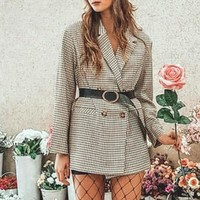 New Blazer Coat Casual Coat Women High Fashion Loose Oversize Plaid Turn Down Collar Blazer