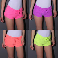 Fluorescence Color Drawstring Hot Beach Shorts