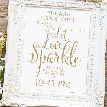 """Let Love Sparkle Sign - 8x10 or 11x14 sign - Printable sign - """"Bella"""" antique gold script - I Create and You Print"""