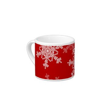 Girly red and white Christmas snowflakes Espresso Cups