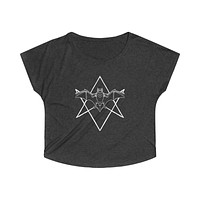 Unicursal Hexagram Bat Women's Tri-Blend Dolman