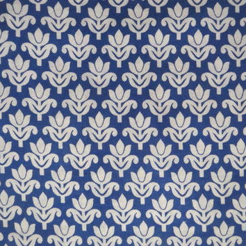 1 yard Indian Cotton Fabric/Natural Vegetable Dyes for Dresses,Curtain White and Blue Jaipur Hand block Sanganeri Printed