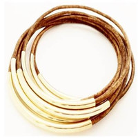 Leather Bangle Bracelets- Natural Light Brown- By LEATHER WRAPS