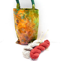 Bag Purse Tote 100% cotton 10x15  lined with small pocket, reversible, wooden handles. Knit crochet project tote bag, reusable market bag