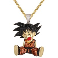 Goku Son Kid 14k Gold Finish Hip Hop Character Pendant Chain
