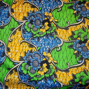 African Wax Print Fabric by the HALF YARD.  Floral green, yellow, and sky blue.