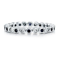 Sapphire Cubic Zirconia CZ 925 Sterling Silver Alternate Eternity Ring #r048-SP