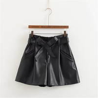 Summer Women's Fashion High Rise Waistband Butterfly PU Leather Pants Shorts [6034461121]
