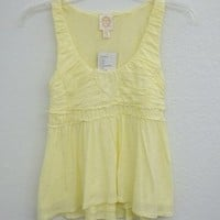Anthropologie Yellow Summer Casual Baby Doll Size Xs Scoop Neck Size 0 Tank Top 44% off retail