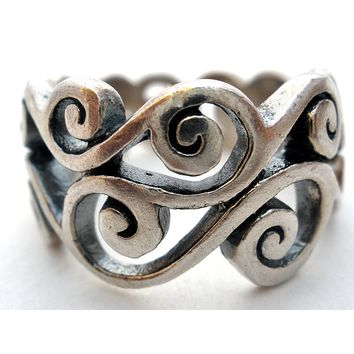 Brighton Sterling Silver Swirl Band Ring Vintage Size 8