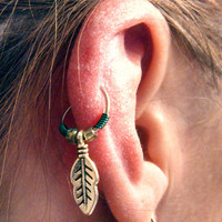 Silver Leaf Feather Cartilage Hoop Emerald Green Earring Boho Tragus Helix Piercing