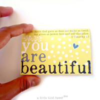 You are Beautiful Mini Cards. Inspirational Women-Girls Cards. Scripture Verses for Women. Mini Stationary.