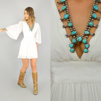 70's White ANGEL SLEEVE hippie boho gypsy summer BABYDOLL Mini Dress, small-medium