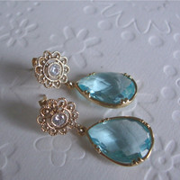 Drop earrings,  Filigree Valentines day jewelry Studs filigree earrings with a gorgeous faceted aquamarine glass, Spring fashion earrings