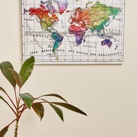 Water Color Map Canvas Art
