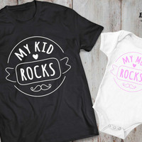 Mother daughter matching shirts, mother son matching T-shirts, My mom rocks my kid rocks, UNISEX