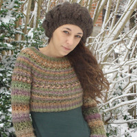 Cropped Sweater shrug, Hand knit Sweater, Multicolor sweater, Orange Lilac Khaki Camel, for her, OOAK, Textured sweater, women girl sweater