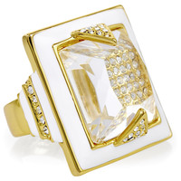 14K Gold Plated Crystal Ring, Stone & Novelty Rings