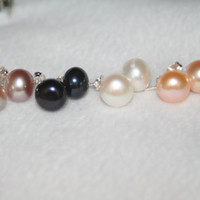 pearl natural pearl earings with sterling  silver pearl earings for bridal for girlfriend for wedding