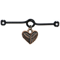 Handcrafted Black Titanium Angelic Heart Dangle Industrial Barbell | Body Candy Body Jewelry