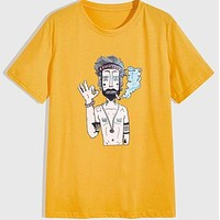 Fashion Casual Men Figure Graphic Tee