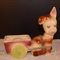 Shawnee Pottery Donkey Planter Vintage Ceramic Donkey and Wagon Air Plant Holder Cactus Planter Little Girls Room Decor Shawnee Collectible