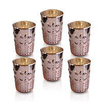 6 Pack | Fleur Mercury Glass Tealight Holders (Rose Gold Pink) For Use with Tea Lights - For Home Decor, Parties and Wedding Decorations - Mercury Glass Votive Holders
