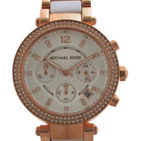 mk5774 chronograph parker white acetate and rose gold-tone stainless steel watch by michael kors